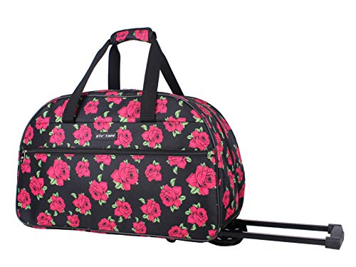 Betsey Johnson Designer Carry On Luggage Collection - Lightweight Pattern 22 Inch Duffel Bag- Weekender Overnight Business Travel Suitcase with 2- Rolling Spinner Wheels (Covered Roses)