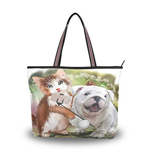 Purse Shopping for Women Girls Ladies Student Cat And Dog Pose For Selfie Watercolor Painting Tote Bag Shoulder Bags Handbags Light Weight Strap