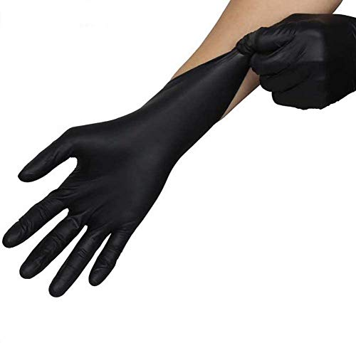 Nitrile Disposable Gloves Multi-Purpose Medical Exam Gloves Powder Free Food Grade Gloves Latex Free Kitchen Food Safety Cleaning Comfortable (XL, Black)