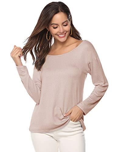 T-Shirt Damen Langarm T-Shirt Lose Shirt Pullover Damen Bluse Oberteile Oversize Tunika Tops