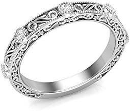 14K White Gold Vintage Wedding Band Filigree Band Diamond Band Milgrain Band Stackable Band For Her Bezel Set Band Real Diamonds I Quality