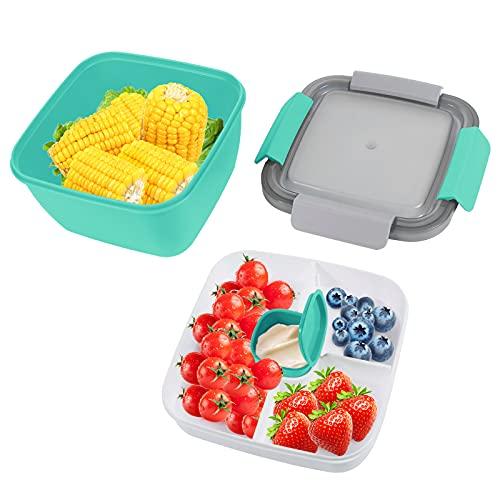 Bento Box Hermetico, Lunch Bento Box con 3 Compartimentos y Cubiertos, Fiambreras bento, Fiambrera infantil adecuada para hornos de microondas y lavavajillas(1500 ML) (Verde)