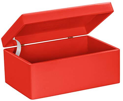 LAUBLUST Große Holzkiste mit Deckel - 30x20x14cm, Rot, FSC® | Allzweck-Kiste aus Holz - Aufbewahrungskiste | Spielzeug-Truhe | Erinnerungsbox | Geschenk-Verpackung | Deko-Kasten zum Basteln