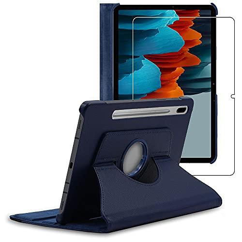 """ebestStar - Funda Compatible con Samsung Galaxy Tab S7 SM-T870 Carcasa Cuero PU, Giratoria 360 Grados, Función de Soporte, Azul Oscuro + Cristal Templado Protector [Tab S7: 253.8x165.3x6.3 mm, 11.0""""]"""