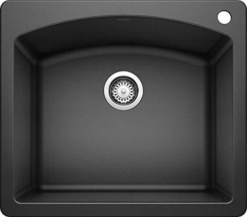 BLANCO, Anthracite 440210 DIAMOND SILGRANIT Drop-In or Undermount Kitchen Sink, 25' X 22'