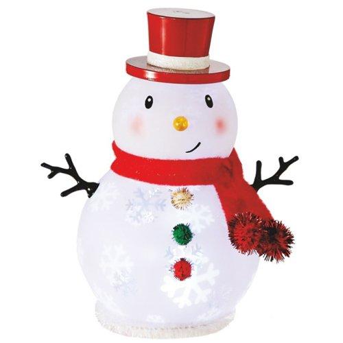 Pom Pom Button Snowman LED Light-up 6 inch Acrylic Christmas Figurine Decoration