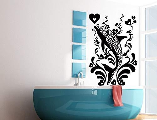 BailongXiao Rahmenlos-Art-Deco-Fisch des Hauptbadezimmers im Wasser auf Stammesmusterwand sti