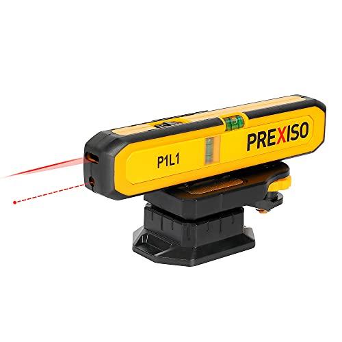 PREXISO Nivel Láser, de Línea 15FT / 5M y Punto 65FT / 20M, Láser de Línea con Base Magnético, con Nivel de Burbuja,2 Batería Incluida