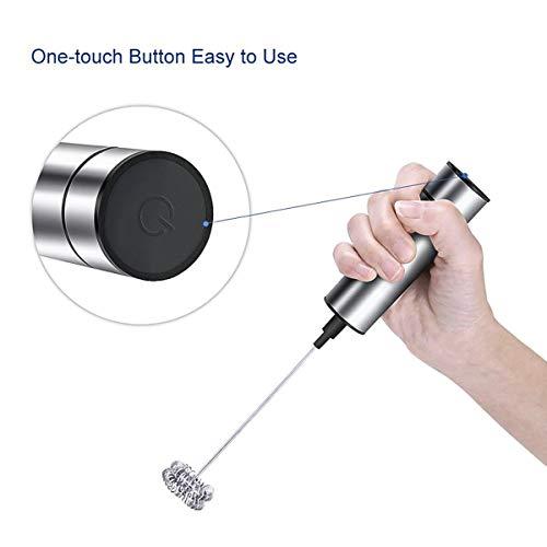 BigBig Style Melkopschuimer handheld dubbel staal garde elektrische schuimfabrikant racket krachtige motor afneembaar voor koffie en ect