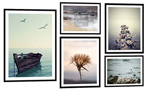 PoStar KP072 Poster mit Rahmen Wanddekoration Foto Natur Meer Bilder deko Set Premium 5 STK