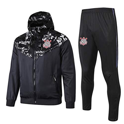 Europa de fútbol Club de fútbol de los Hombres de la Camiseta de Manga Larga Primavera y el otoño de Deporte Uniforme de Entrenamiento Negro (Top Pantalones +) -ZQY-A0324 (Color : Black, Size : L)