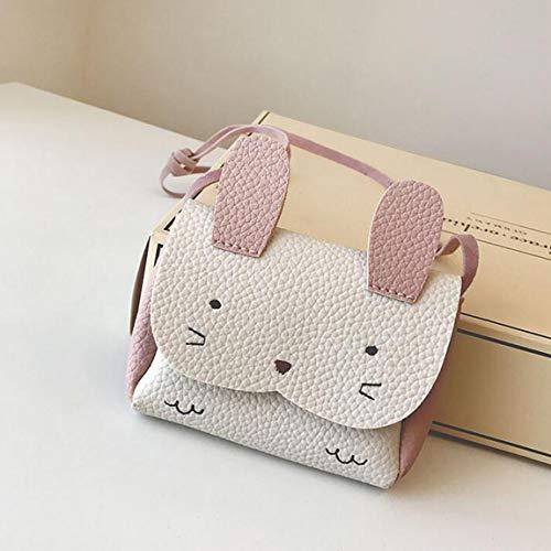 Mini conejito con un solo hombro, bolsa de hombro, mochila, animal encantador, adorno de dibujos animados, pequeño bolso pequeño para niños, niña, blanco