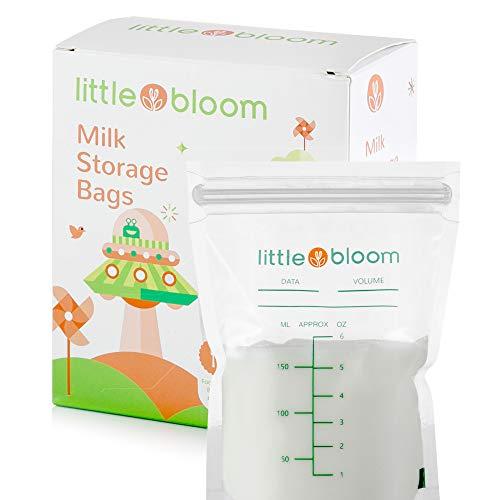 Milchaufbewahrungsbeutel 60 Stück von Littlebloom - 60 BPA-freie sterilisierte Muttermilchbeutel mit auslaufsicherem Sicherheitsverschluss für unsere Premium Milchbeutel