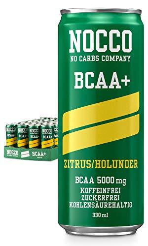 NOCCO BCAA+ Citrus Holunder 12 x 330ml Proteinreiches Energy-Getränk ohne Zucker No Carbs Company Vitamin Boost Kohlensäurehaltige Sportgetränke für Muskelleistung und -regeneration
