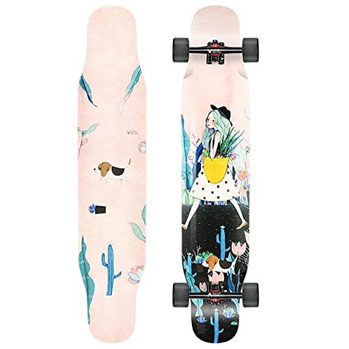 VOMI Longboard Completa de Arce y Bambú con Rodamientos Silencioso y Ruedas de PU, Skateboards Dance Monopatín Profesional para Principiante, Adultos, Niños, Jóvenes, 114 x 23,5 cm,D