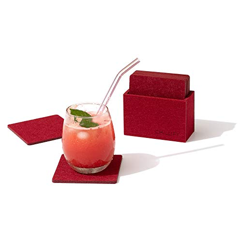chillify Felt Coasters for Drinks with Coaster Holder - Non Slip Heat Resistant Washable Coaster Set of 8 - Square, Red, 10 x 10 cm - Absorbent Non stick Drink Coasters for cups, garden, beer, table