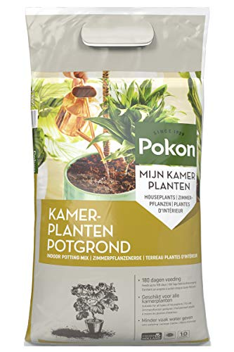 Pokon Zimmerpflanzen-Erde mit 180 Tage-Dünger, für Blüh- und Grünpflanzen, Kultursubstrat, 10L