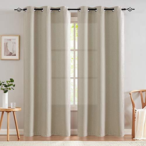 JINCHAN Linen Fabric Curtain Room Darkening Window Treatment for Bedroom 84 Inch...