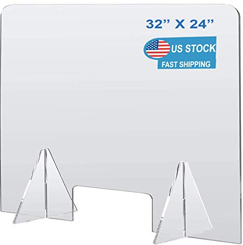 Plexiglass Barrier Divider Protective Plastic Shield Freestanding Clear Acrylic Sneeze Guard for Counter Desk Office Nail Salon with Transaction Window (32'W x 24'H)