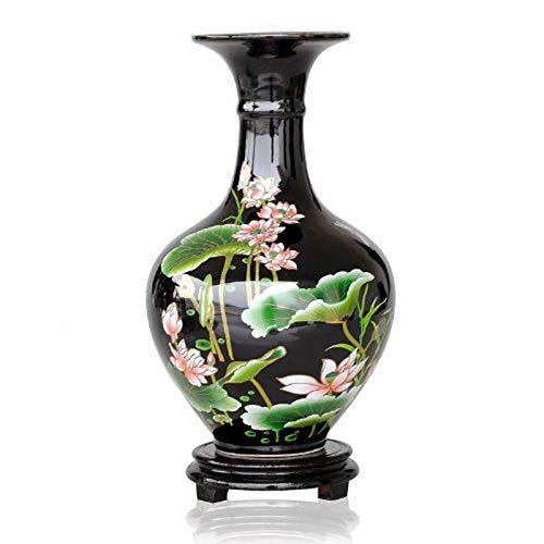 ufengke-ts Jing Dezhen Vaso in Ceramica, Vaso Piccolo con Motivi di Loto, Vaso Nero Vasi Cinesi Vaso Decorativi, per La Famiglia, Ufficio, Matrimonio, Festa