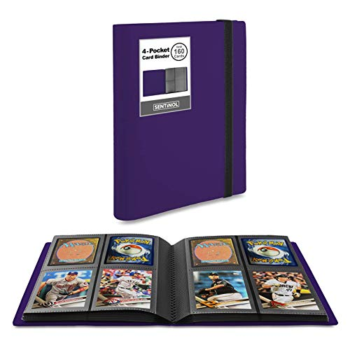 Sentinol Small Card Collection Binder - 4 Pocket Trading Card Binder with Sleeves Hold 160 Cards in Heavyweight Sleeves, Card Album for Baseball Card, Hockey Cards, Mini Photos (Purple, 1 Pack)