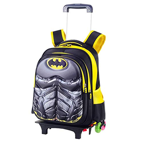 LHY EQUIPMENT Cartoon Children's Trolley Backpack, 3D Portable Rolling School Bag with 6 Wheels Multifunction Detachable Wheeled Backpack Can Climb Stairs for Kids,spiderman
