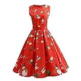 SHOBDW Vestido de Navidad, Las Mujeres de Santa Navidad Fiesta Vestido de Navidad Vintage Swing Skater Vestido (S-4XL) (Rojo 5364, XS)