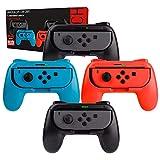 Switch Mandos Grip Joy-con (Party Pack de 4 Mandos Orzly Compatibles con Super Smash Bros Ultimate para Nintendo Switch) 4 Mandos Grip para Juegos Multijugador (1x Rojo, 1xAzul, 2X Negros)