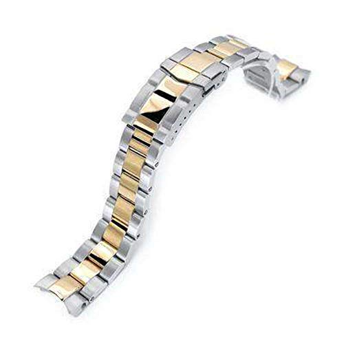 Strapcode 20mm Super 3D Oyster Watch Band for Seiko Alpinist SARB017, Two Tone IP Gold, Solid Submariner Clasp