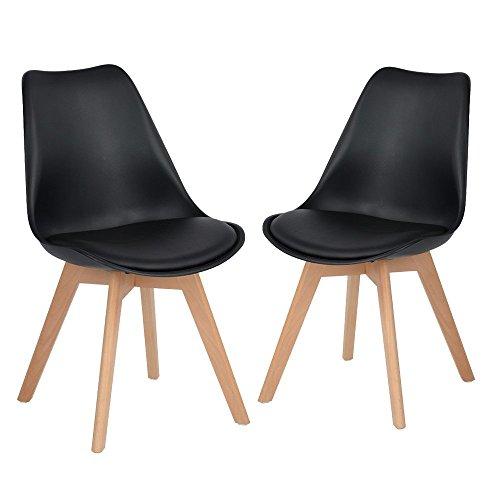 DORAFAIR Pack 2 sillas escandinava Estilo nórdico Silla de Comedor, con Las piernas de Madera de Haya Maciza y cojín cómoda,Negro