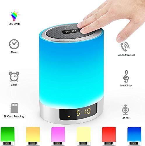 DOOK Nachtkastje Touchlamp, 5-in-1 LED-bureaulamp met bluetooth luidspreker 12/24u digitale wekker 7 kleuren & 4000 mAh batterij ondersteunt SD-kaart, kinderen/vrienden