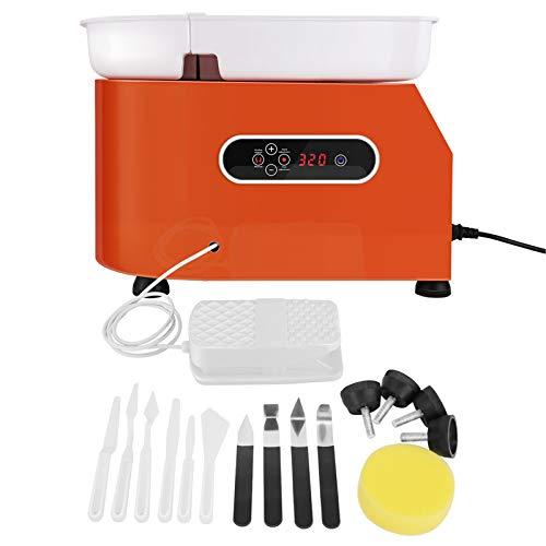 TTLIFE Rueda de cerámica eléctrica con pantalla LCD, 350W 25CM Máquina de rueda de cerámica Herramienta de arcilla de bricolaje para adultos Niños con lavabo ABS extraíble, Naranja