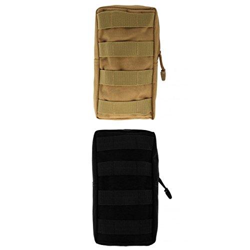 Lot 2pcs Modulaire Pochette Sac Utilitaire Accessoire Militaire -Noir et Kaki