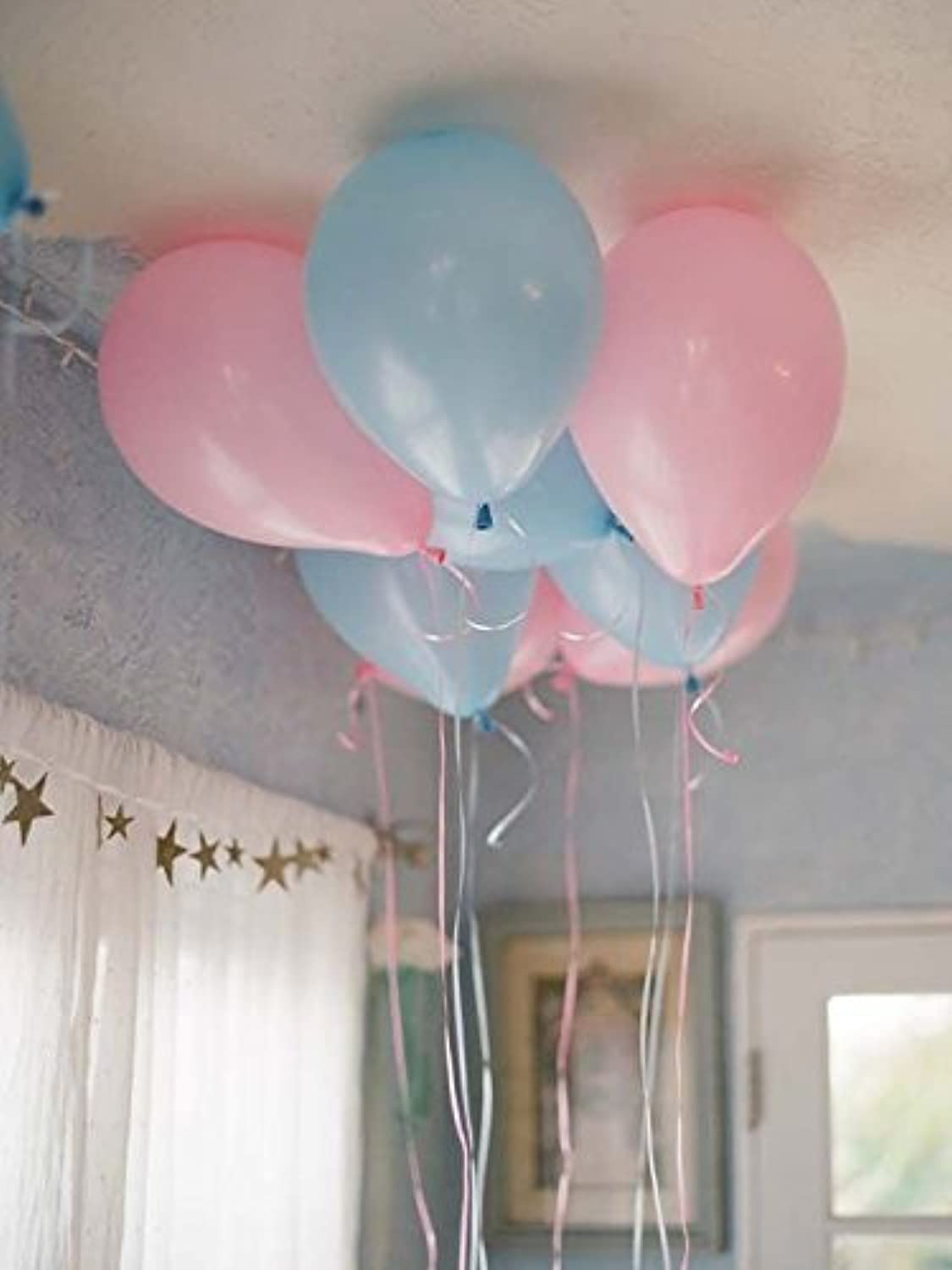 12  3.2 Helium Quality Matte Latex Balloons  Light Pink and Light bluee. Perfect for Gender Reveal Baby Shower Party Decoration, 1st Birthday Boys &Girls & Twins and Other Occasion 100 Count.