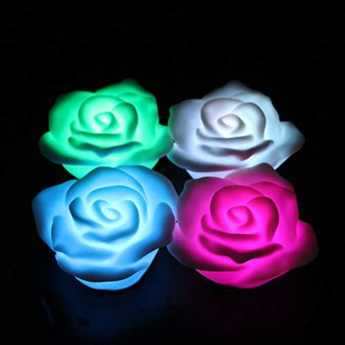 Uonlytech 4 Stück LED-Licht bunt schwimmende Rose Nachtlicht schwimmende Rose Kerze Lampe (bunt schnell blinkend)