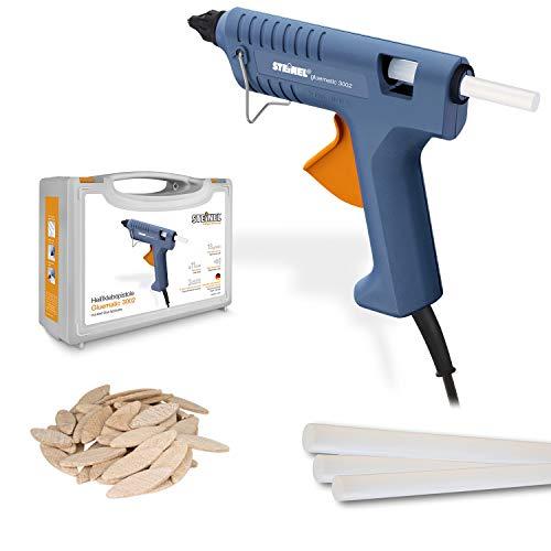 Steinel Klebepistole Gluematic 3002 im Bastel-Koffer, 8 Klebesticks und Holz-Plättchen, Basteln, Schmücken, Dekorieren