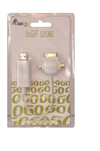 WiGO GOODS LLC ACCY-3586 Enlight Cable 3-in-1 Cable for iPhone - Retail Packaging - White