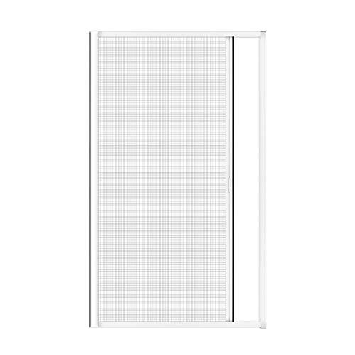 Nematek® Alu Insektenschutz Rollo für Türen - Mückenschutz Fliegengitter Tür Rollo mit Aluminium Rahmen für Balkontür (120 x 225 cm, weiß)