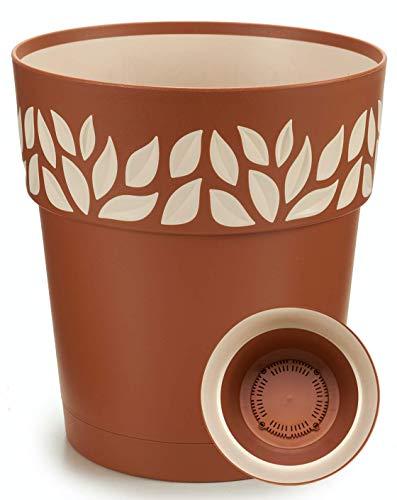 TIENDA EURASIA® Maceta de Plástico - Diseño Moderno Hojas - 3 en 1- Maceta + Bandeja Interior + Plato Maceta (Marrón, 30 cm)