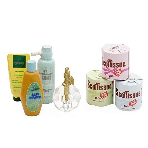 Odoria 1:12 Miniature 3Pcs Toilet Paper and Shampoo Lotion Facial Cleanser Perfume Dollhouse Bath Accessories