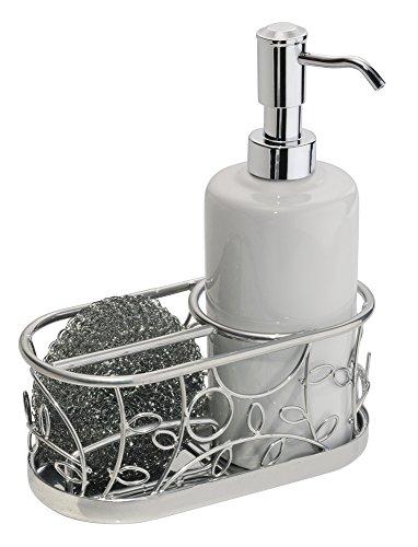 InterDesign Twigz Dispenser sapone liquido con porta spugne | Dispenser sapone design con capienza fino a 385 ml | Paglietta per le pentole inclusa | Metallo argento/bianco