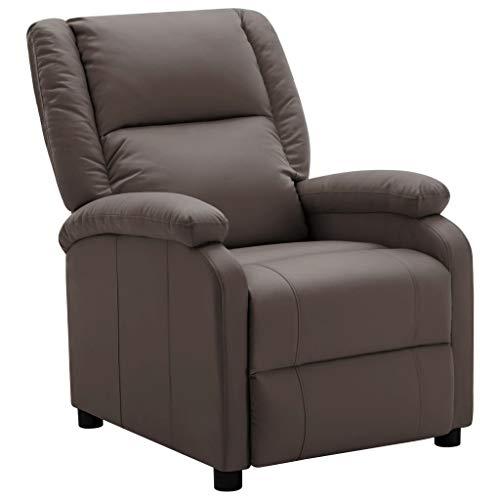 FAMIROSA Sillón reclinable de Cuero sintético marrón-2438