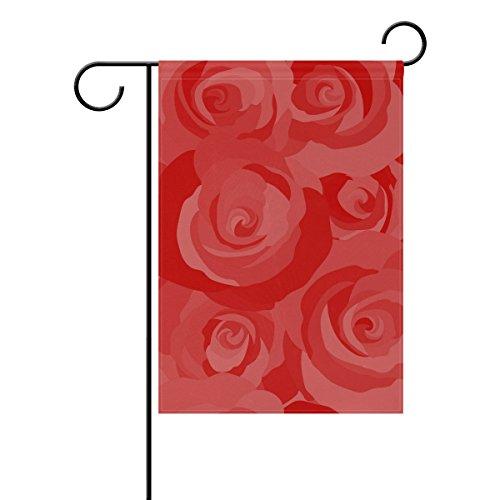 Jstel Home vintage roses rouges Tissu Polyester drapeaux de jardin Lovely et résistant aux moisissures personnalisés imperméables de 71,1 x 101,6 cm