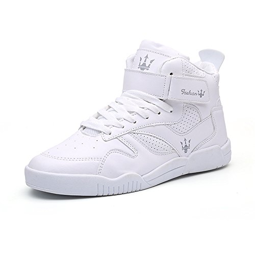 FZUU Men's Fashion High Top Leather Street Sneakers Sports Casual Shoes (11, White)