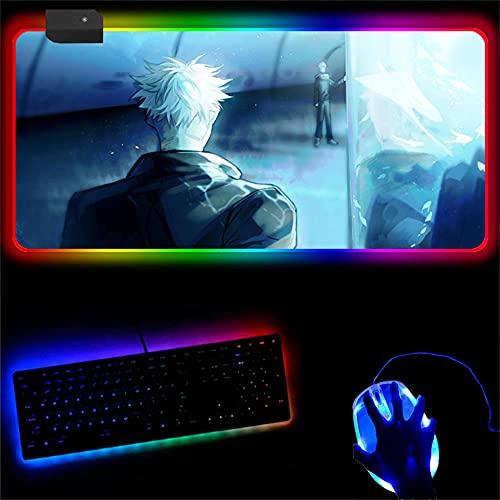 Jujutsu Kaisen Led Computer Gamer Accesorios de Escritorio RBG Mousepad Tapete de Mesa Grande con retroiluminación Gaming Anime Mouse Pad B 27.5x11.8x0.16 in
