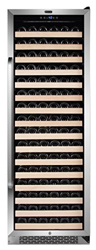 Whynter BWR-1662SD 166 Built-in or Freestanding Stainless Steel Compressor Large Capacity Wine Refrigerator Rack for open bottles and LED display, Black