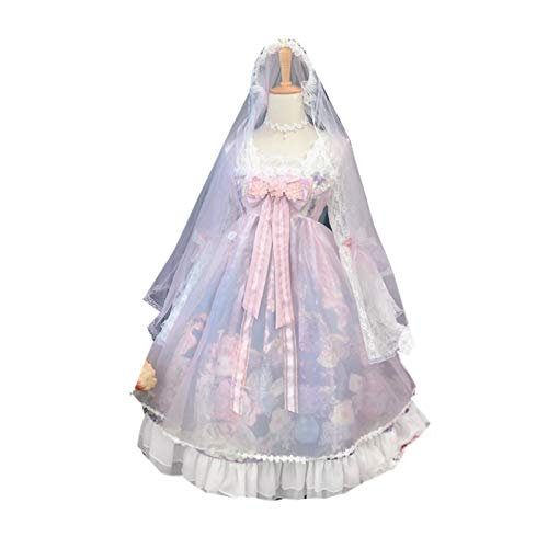LULIJP Princesa Fiesta Dulce Lolita Vestido Retro Encaje Bowknot Hadas Linda impresión Victorian Vestido Kawaii niña gótico