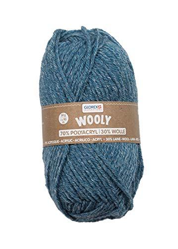 Glorex 5 1002 00 Wooly Fil à tricoter 70% acrylique/30% laine, très doux et chaud, confortable à porter, 50 g, env. 90 m, idéal pour les chapeaux, écharpes et jambières, Bleu chiné, 50 g