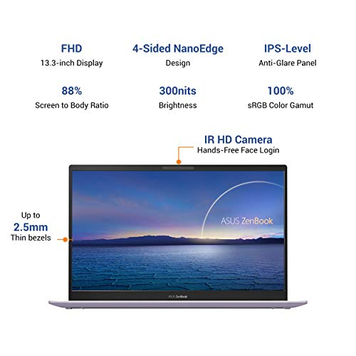 ASUS ZenBook 13 (2020) Intel Core i5-1035G1 10th Gen 13.3-inch FHD Thin and Light Laptop (8GB RAM/512GB NVMe SSD/Windows 10/MS Office 2019/Integrated Graphics/Lilac Mist/1.11 kg), UX325JA-EG135TS