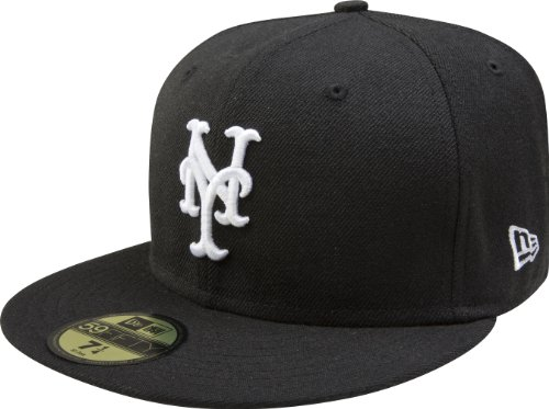New Era Men's 59FIFTY New York Mets Black Hat 7 3/4